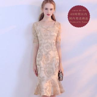 【即納】大人カラーの総柄が上品なマーメイドラインの袖ありタイトドレス