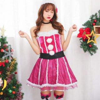 クリスマスパーティーやイベント衣装に スパンコールのフレアスカートがかわいいサンタコスプレ6点セットアップ 2色