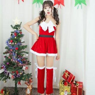 クリスマスパーティーやイベント衣装に ビックリボンがキュートなサンタコスプレのベアトップワンピース