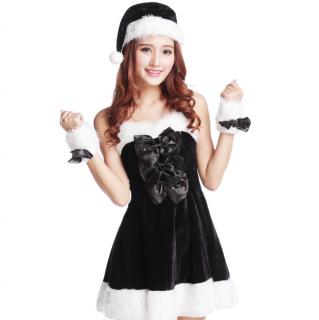 クリスマスパーティーやイベント衣装に ファーとリボンでガーリーなサンタワンピースの4点セット