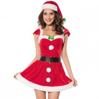 クリスマスパーティーやイベント衣装に 緑リボンのワンポイントがおしゃれなサンタコスプレワンピース