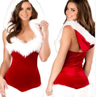 クリスマスパーティーやイベント衣装に ミニ丈のボディコンでセクシーなフード付きサンタコスプレワンピース