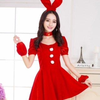 クリスマスパーティーやイベント衣装に フレアスカートがかわいいサンタ風バニーガールワンピース