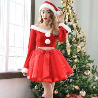 クリスマスパーティーやイベント衣装に フレアなチュールスカートがかわいいサンタコスプレ3点セット