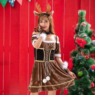 クリスマスパーティーやイベント衣装に オフショルダーがセクシーなレースアップのトナカイコスプレワンピース4点セット
