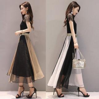 デートや同伴にも バイカラーのフレアスカートが上品かわいいロングワンピース 2色