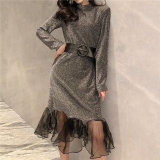 デートや同伴に マーメードラインの裾フリルが大人かわいいベルト付き長袖タイトワンピース 2色