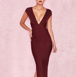 エレガントでセクシーな海外デザイン バッククロスがおしゃれなボディコンマキシ丈ドレス