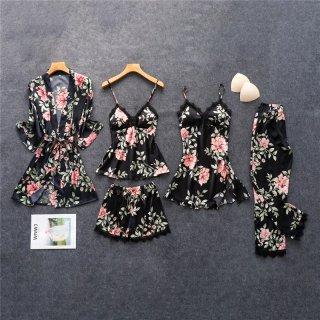 さらっと着られる薄手生地 エレガントな花柄のセクシールームウェア4点セット 3色