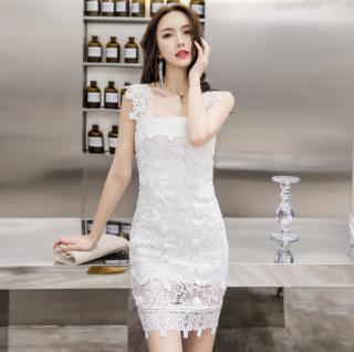 上品セクシーな海外デザイン 花柄透かし白レースのボディコンミニワンピース ドレス