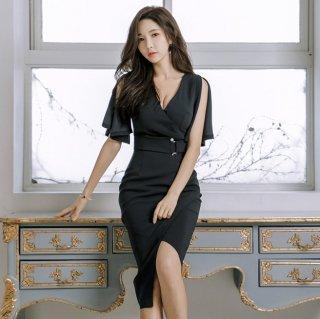 チラ見せセクシーなシフォンスリーブの膝丈ボディコン黒ワンピース ドレス