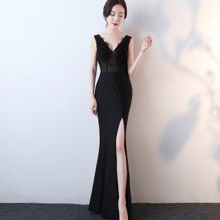 シンプルエレガントな刺繍レースがおしゃれ ロングスリットのボディコンロングドレス