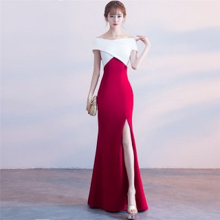 エレガントでセクシーな海外デザイン タイトな美シルエットのバイカラーマキシドレス ワンピース