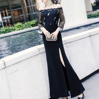 個性的でおしゃれな海外デザイン フェザー刺繍がかわいいプチドットのボディコンロングドレス 2色