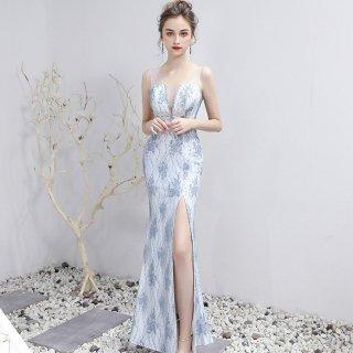 上品かわいい刺繍デザイン シースルーの谷間見せがセクシーなロングスリットのタイトドレス