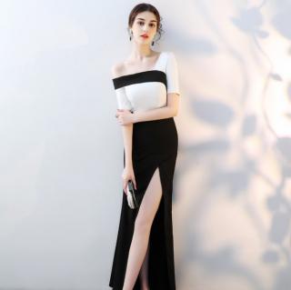 おしゃれなアシメデザイン スタイリッシュなモノトーンのマキシ丈セクシータイトドレス