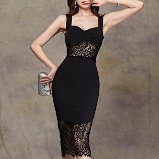 人気の海外デザイン 上品セクシーなレースドッキングの膝丈ボディコン黒ドレス ワンピース