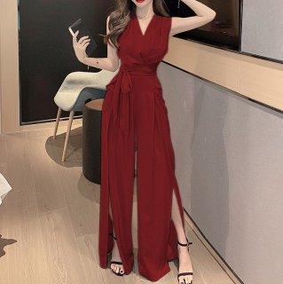 デートや同伴にも活躍 ロングスリットのノースリーブパンツドレス オールインワン 3色