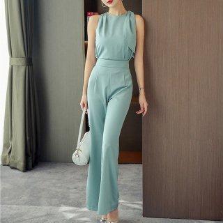 アシメデザインがおしゃれ きれいめノースリーブトップスのパンツセットアップ パンツドレス