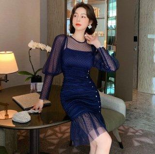 個性的でかわいい海外デザイン プチドットのマーメードタイトドレス ワンピース