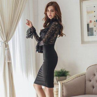 トレンドのスタンドカラー エレガントな花柄レースの膝丈ボディコン黒ドレス ワンピース