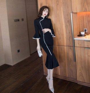個性的でかわいい海外デザイン タイトなチャイナドレス風マーメードワンピース ドレス
