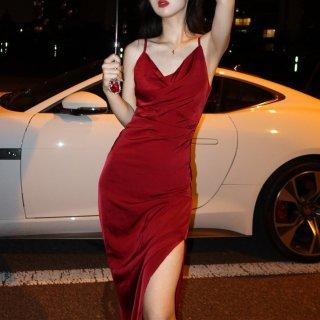 エレガントでセクシーな海外デザイン キャミソールのボディコンロングドレス ワンピース