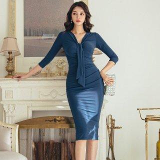 シンプルエレガントな海外デザイン タイ付き膝丈袖ありボディコンワンピース ドレス