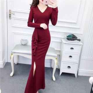 シンプルエレガントなマキシドレス サイドフリルとマーメードスカートの長袖ボディコンワンピース 3色