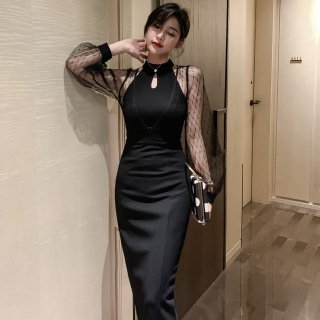 人気の海外デザイン 黒の透けシフォンが色っぽい膝丈ボディコンカジュアルドレス ワンピース