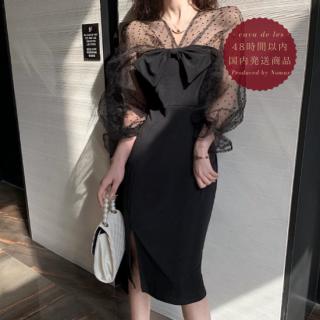 【即納】個性的でガーリーな海外デザイン ビックリボンがかわいいドット柄シフォンのタイトワンピース ドレス