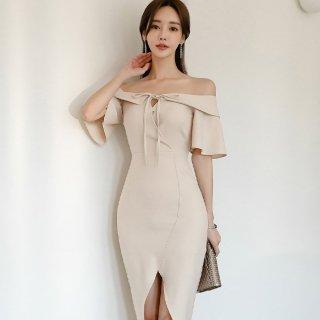 上品セクシーな海外デザイン リボンオフショルの膝丈タイトワンピース ドレス