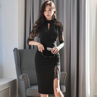 オトナ女子のお呼ばれスタイルに 繊細レースドッキングの袖ありタイト黒ドレス ワンピース
