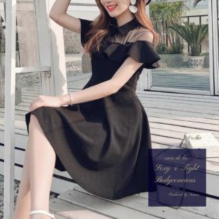 【即納】襟&フリルデザインがキュートなワンカラーのカジュアルワンピ/Lサイズ