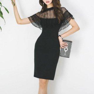 【即納】シースルーがセクシー フリルスリーブが大人かわいい黒のカジュアルタイトドレス/Sサイズ