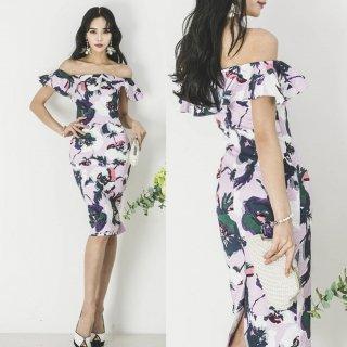 【即納】ボリューミーなフリルと大判の花柄が魅力的なタイトドレス/Lサイズ