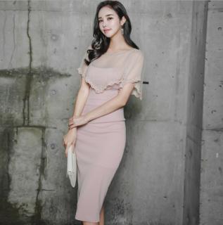 【即納】人気の海外デザイン 上品かわいいケープ風レースのタイトドレス ワンピース/Mサイズ