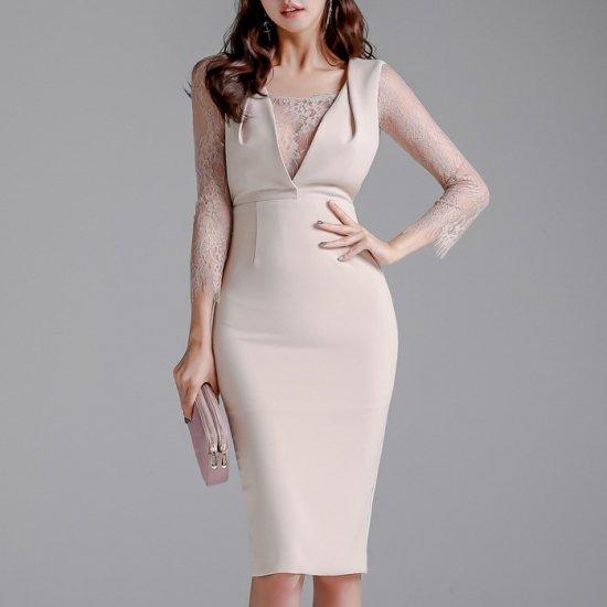 人気の海外デザイン 上品セクシーなレースドッキングの膝丈長袖タイトワンピース ドレス