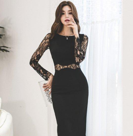 大判花柄の透けレースでセクシーに 黒の膝丈長袖ボディコンワンピース ドレス