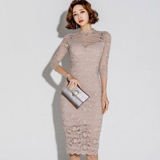 大胆セクシーなバックコンシャス 花柄総レースの膝丈袖ありボディコンワンピース ドレス