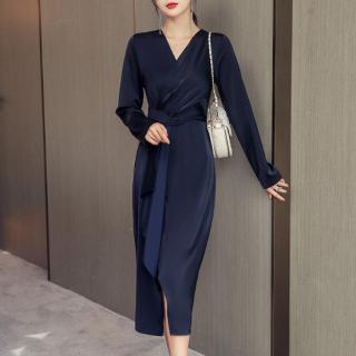 エレガントなツヤ感で高見え抜群 アシメフリルのカシュクールワンピース ドレス 2色