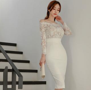 人気の海外デザイン オフショルレーストップの切り替えボディコンワンピース ドレス 2色