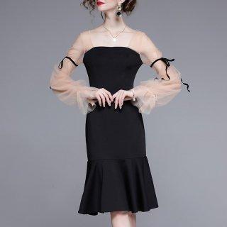 人気の海外デザイン 上品かわいいシースルースリーブの膝丈長袖タイトドレス