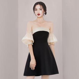 個性的でおしゃれな海外デザイン ふんわりキャンディー袖のオフショルミニドレス ワンピース