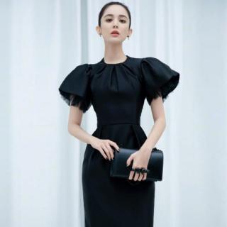 個性的でおしゃれな海外ドレス エレガントなボリューム袖のミディアム黒ワンピース