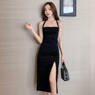 人気の黒ドレス シンプルでセクシーな膝丈ボディコンスリットワンピース
