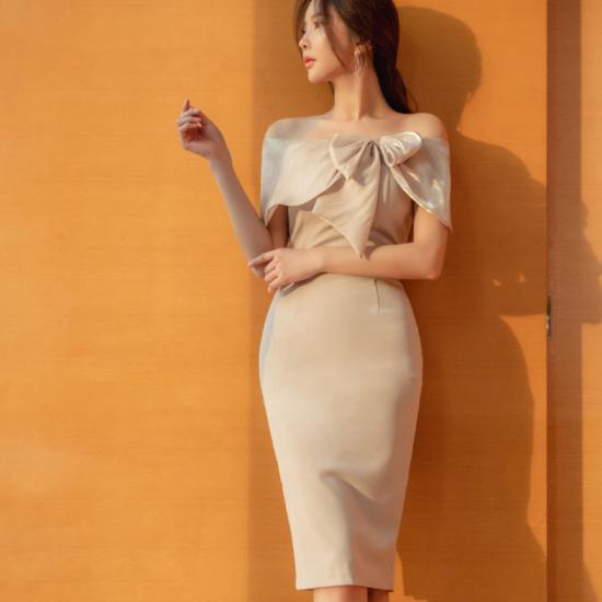 高級感溢れる海外デザイン ビックリボンのオフショルタイトドレス ワンピース