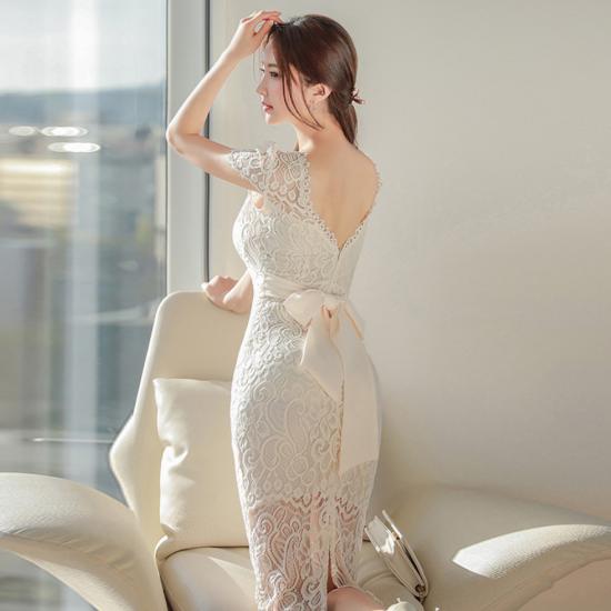 2way使えるデザイン ビックリボンがかわいい総レースの膝丈袖ありタイトドレス ワンピース