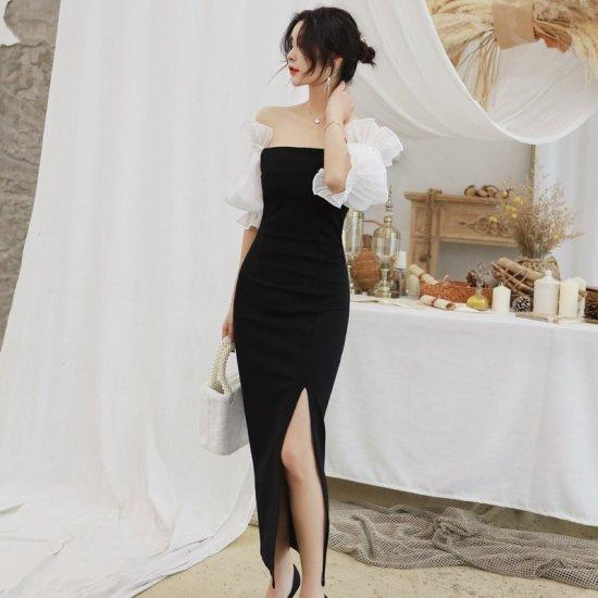 異素材ドッキングがおしゃれ ボリューミーなパフ袖のオフショルタイトロングドレス ワンピース