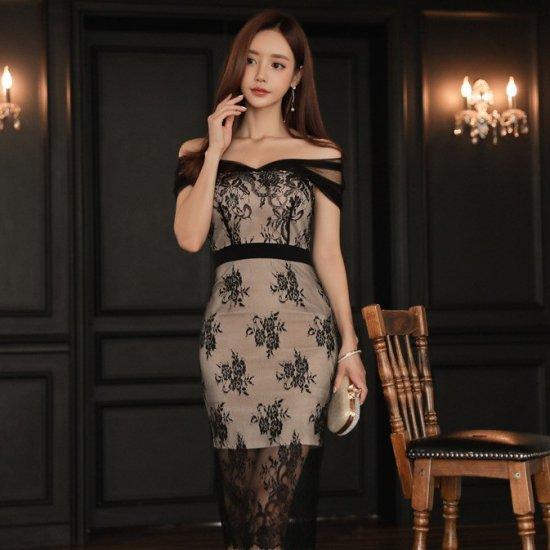 人気の海外デザイン 上品セクシーなシースルーオフショルの膝丈レースタイトドレス